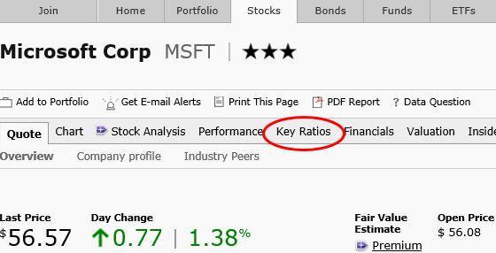 マイクロソフトkey ratios